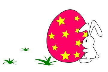 Easter eggs with yellow stars and white rabbit