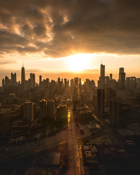 Skyline of city sunset, Chicago, United States of America