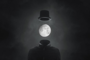 surreal picture man with moon face with hat Wall mural