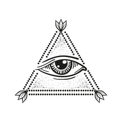 illustration of eye in the pyramid, in the style of tattoos