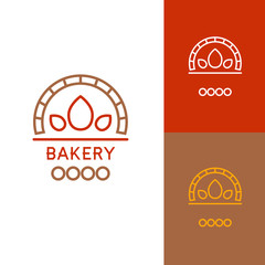 Icon or logo template for bakery, food, cooking, kitchen, restaurant or cafe. Symbol for corporate branding identity. Label inspiration for advertising, business, web design. Vector illustration.