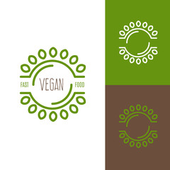 Icon or logo template for vegan food, cooking, kitchen, restaurant or cafe. Symbol for corporate branding identity. Label inspiration for advertising, business, web design. Vector illustration.