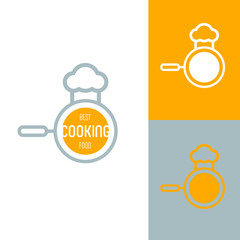 Icon or logo template for food, cooking, kitchen, restaurant or cafe. Symbol for corporate branding identity. Label inspiration for advertising, business, web design. Vector illustration.