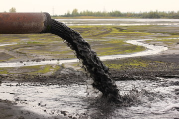 Industrial pipe discharging liquid waste