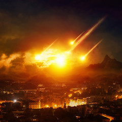 Fototapete - Judgment day, end of world, asteroid impact