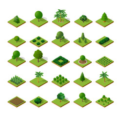 Set Isometric 3d trees forest camping nature elements white background for landscape design. Vector illustration isolated. Icons for city maps, games and your town
