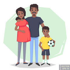 Cartoon  Young couple. Dark skin Pregnant black woman, husband man, boy son. Flat style vector illustration family.