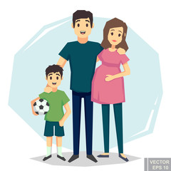Cartoon  Young couple. White skin Pregnant woman, husband man, boy son. Flat style vector illustration family.