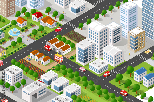 Isometric 3d building city green concept private for 3d house building games online