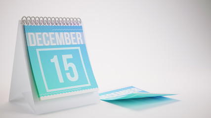 3D Rendering Trendy Colors Calendar on White Background - december 15