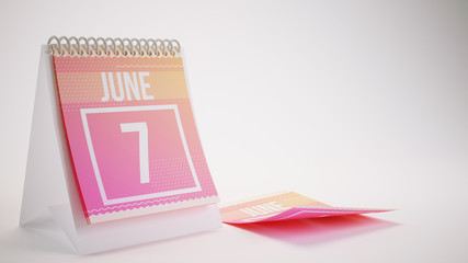3D Rendering Trendy Colors Calendar on White Background - june 7