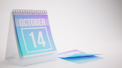 3D Rendering Trendy Colors Calendar on White Background - october 14