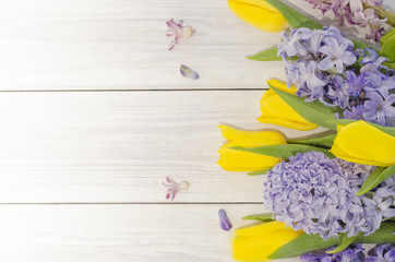 Background with tulips and hyacinths