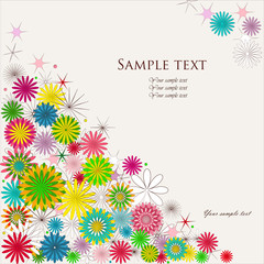 Beautiful vector background with colored flowers