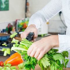 woman Cooking a salad of fresh vegetables close-up