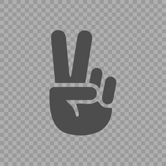Victory symbol vector icon eps 10. V gesture sign.