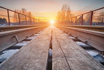 Sunset on the railway bridge.