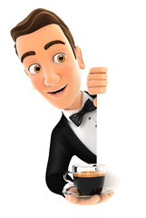 3d waiter behind left wall and holding cup of coffee