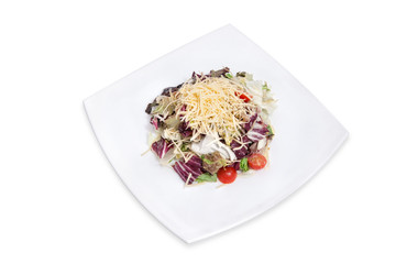 Salad with vegetables, cheese and meat
