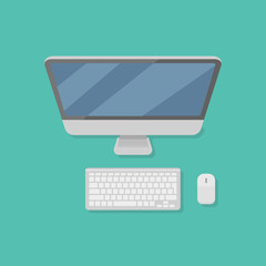 Desktop personal computer with monitor, keyboard and mouse isolated on background. Top view. Flat style icon. Vector illustration.