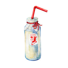 Bottle of milk. Hand drawn watercolor painting on white background.