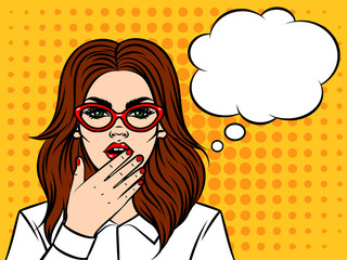 Young beautiful girl in glasses of the European type, shocked emotion. Surprised  face with speech bubble on halftone effect background