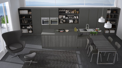 Modern gray kitchen with wooden details, big window with sea or lake panorama, top view