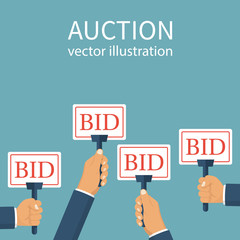 Bid sign in hand of people. Auction meeting. Business bidding process concept. Vector illustration flat design. Isolated on background. Template for open trade. Many offers good prices. Competition.