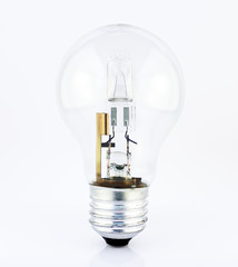 Halogen light source. Electronic equipment detail. Energy saving bulb on white background.