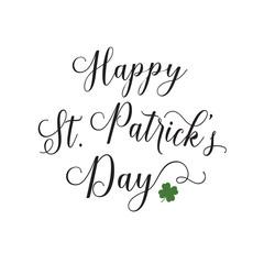 Happy St. Patricks Day Lettering on White