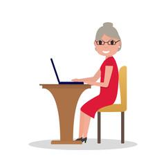 Vector cartoon old woman sitting at desk laptop