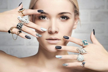fashion woman with jewelry and manicure