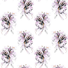 Seamless pattern with abstract elements of the bouquet in black, purple, pink and brown.