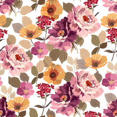 Seamless pattern with colorful summer flowers and foliage on a white background