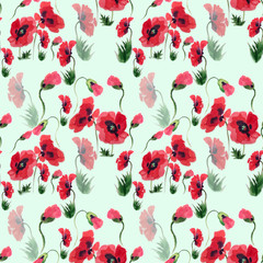 Poppies - flowers, leaves and buds. Drawing on rice paper. Seamless pattern. Perfumery and cosmetic plants. Wallpaper. Use printed materials, signs, posters, postcards, packaging. Watercolor.
