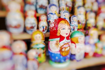 Very large selection of matryoshkas Russian souvenirs at the gift shop on June 04, 2014 in Moscow. Nesting dolls are the most popular souvenirs from Russia