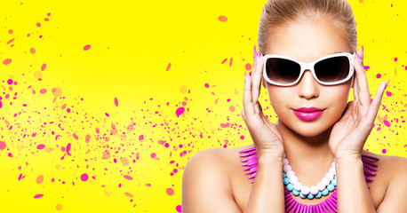 fashion spring summer blond woman with perfect skin Wall mural
