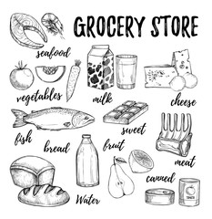 Hand drawn vector illustration - collection of grocery elements. Supermarket and grocery store. Design elements in sketch style. Perfect for brochures, flyers, delivery, poster, advertising