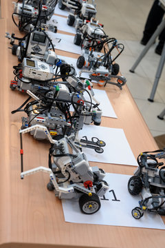 Tyumen, Russia - February 16. 2017: Open championship of professional skill among youth. World skills Russia Tyumen - 2017. Robots made of Lego blocks