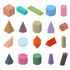 Set of 3D geometric shapes. Isometric views.