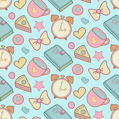 Cute morning vector seamless pattern with cake, heart, cup, notebook and alarm clock. Home elements background.