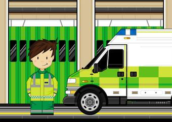 Cute EMT Paramedic and Ambulance