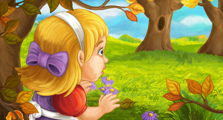 cartoon scene with young girl in the forest near the tree sneaking