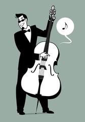 Retro cartoon music. Double bass player playing a song. Musical note