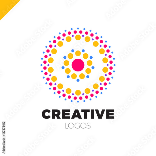 Clever and creative, dots or point letter O logo  Smart and