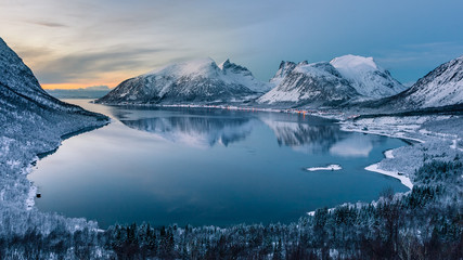 Polar night, Bergsfjord near Bergsbotn at Senja, Norway.