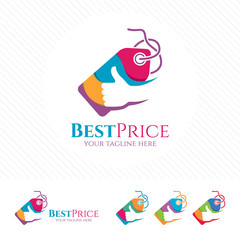 Price tag logo design with thumb up vector . Shopping logo concept for buying or selling at online store.