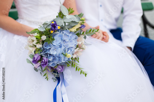 Bridal Flowers Blue Mountains : Quot newlyweds hold wedding bouquet of blue flowers hydrangea