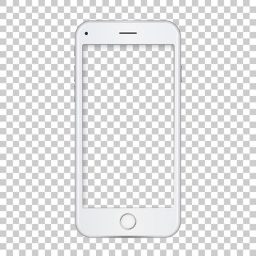 White phone template with blank screen.