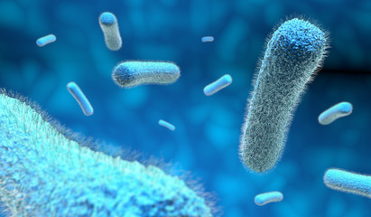 microscopic bacteria in blue background, 3d illustration